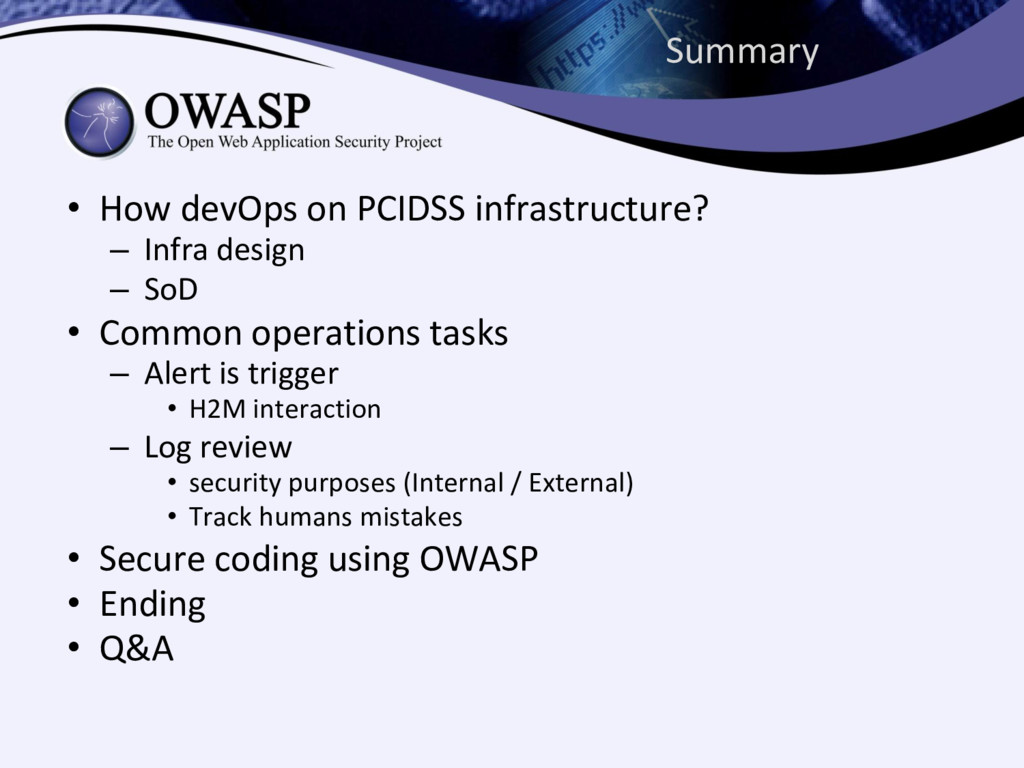 Summary • How devOps on PCIDSS infrastructure? ...
