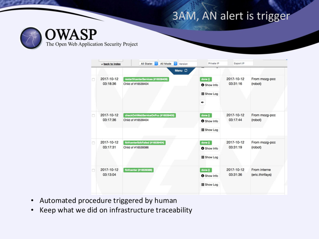 3AM, AN alert is trigger • Automated procedure ...