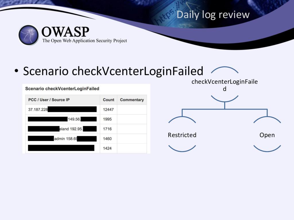 Daily log review • Scenario checkVcenterLoginFa...