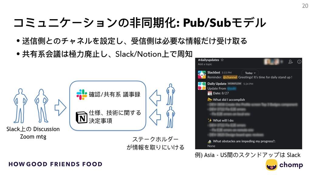 HOW GOOD FRIENDS FOOD コミュニケーションの⾮非同期化: Pub/Subモ...
