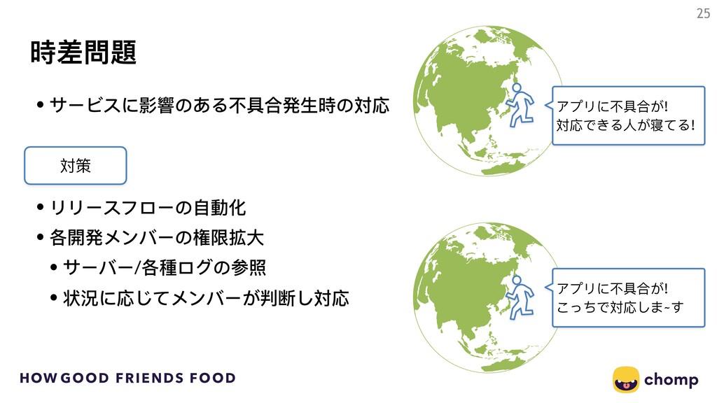 HOW GOOD FRIENDS FOOD 時差問題 25 • サービスに影響のある不不具合発...