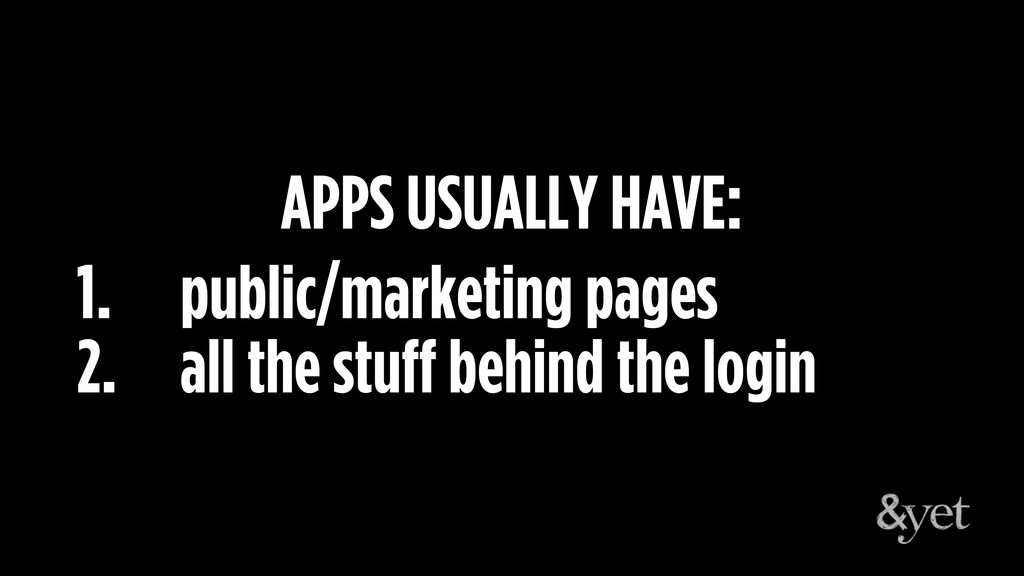 APPS USUALLY HAVE: 1. public/marketing pages 2....