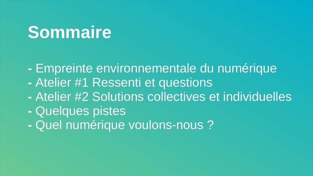 Sommaire - Empreinte environnementale du numéri...