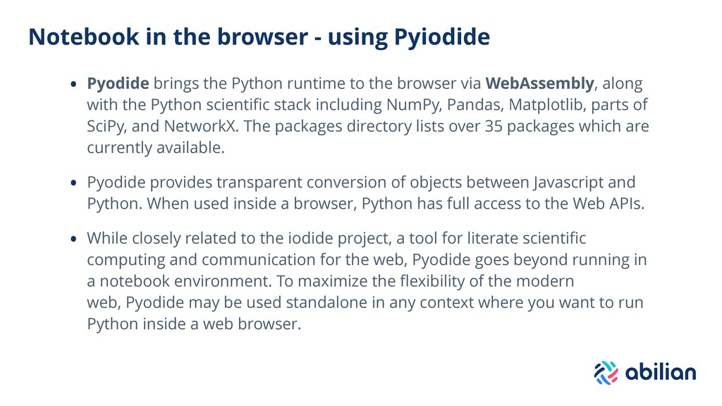 Notebook in the browser - using Pyiodide • Pyod...