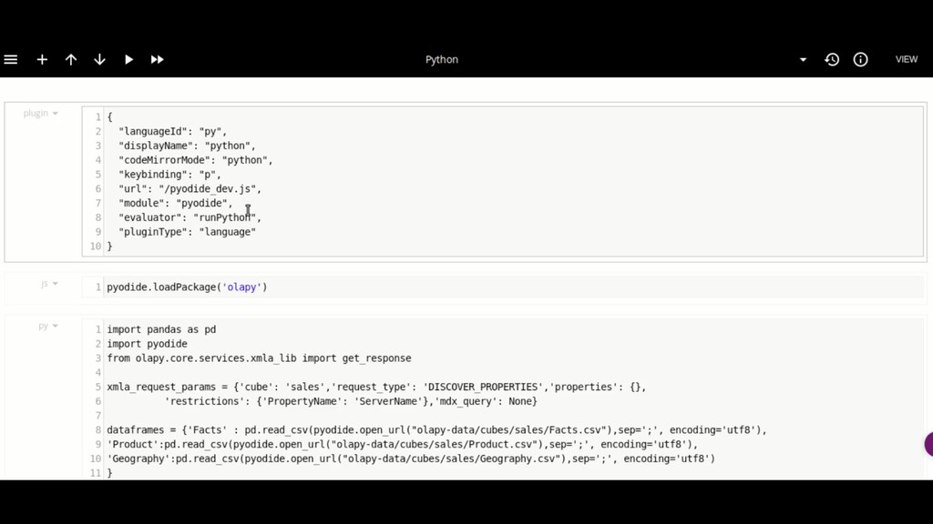 Notebook in the browser - using Pyiodide