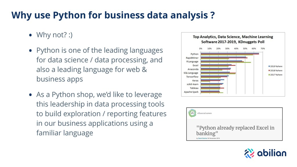 Why use Python for business data analysis ? • W...