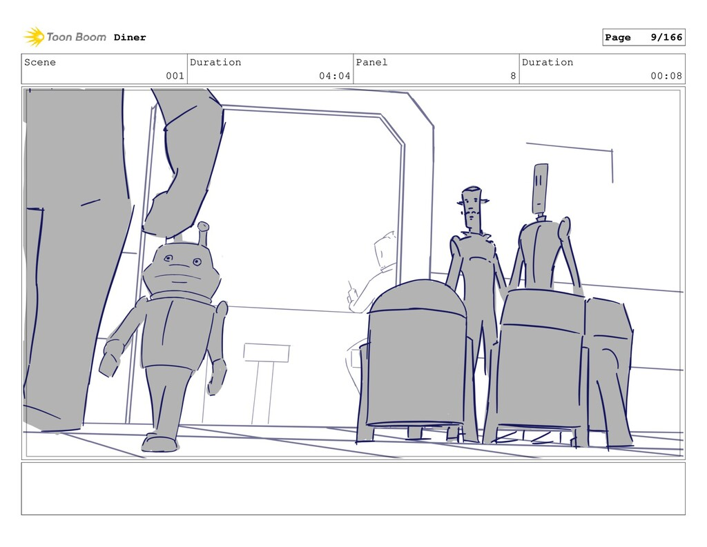 Scene 001 Duration 04:04 Panel 8 Duration 00:08...