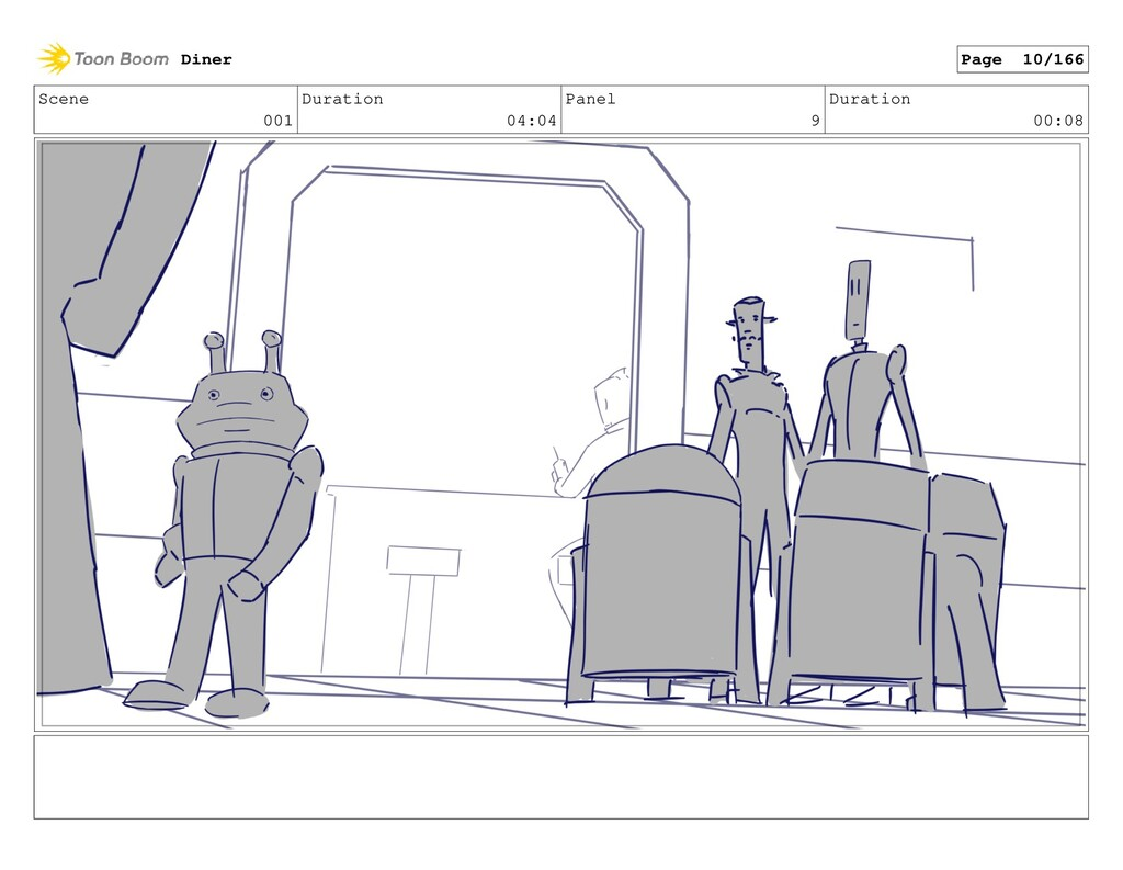 Scene 001 Duration 04:04 Panel 9 Duration 00:08...