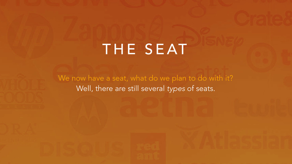T H E S E AT We now have a seat, what do we pla...
