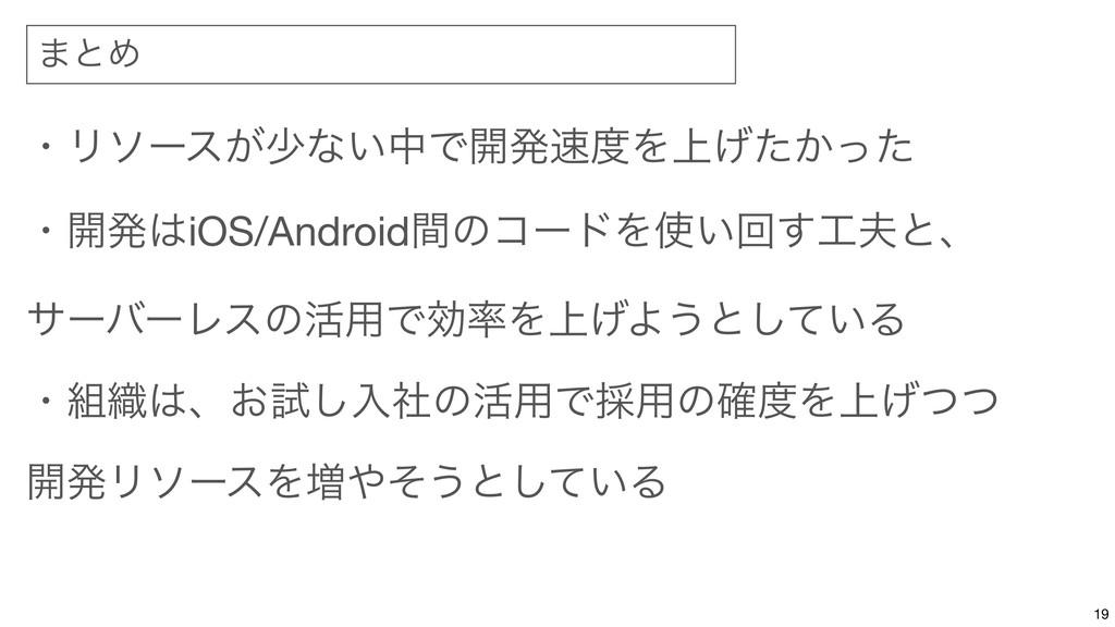 ·ͱΊ 19 ɾϦιʔε͕গͳ͍தͰ։ൃΛ্͔͛ͨͬͨ  ɾ։ൃiOS/Androidؒ...
