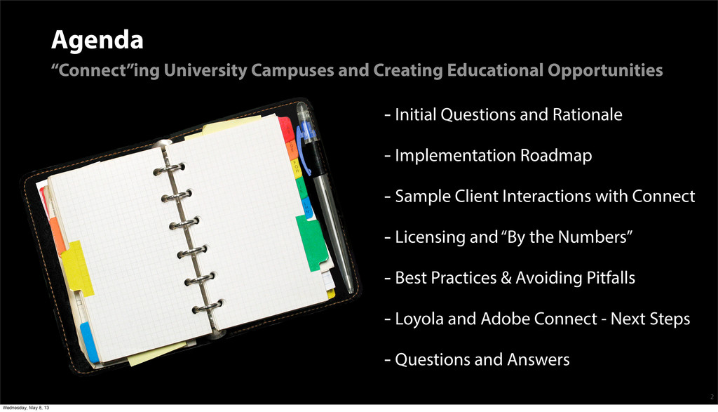"""Agenda """"Connect""""ing University Campuses and Cre..."""