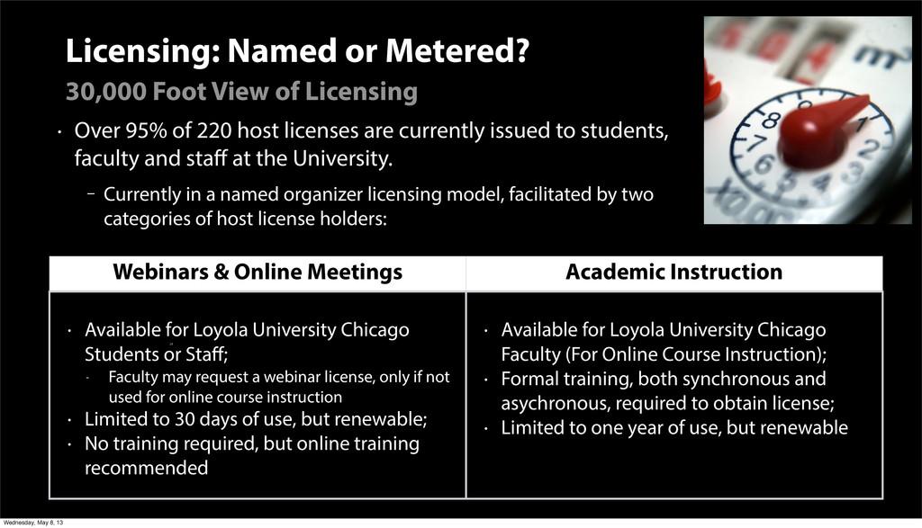 Licensing: Named or Metered? • Over 95% of 220 ...