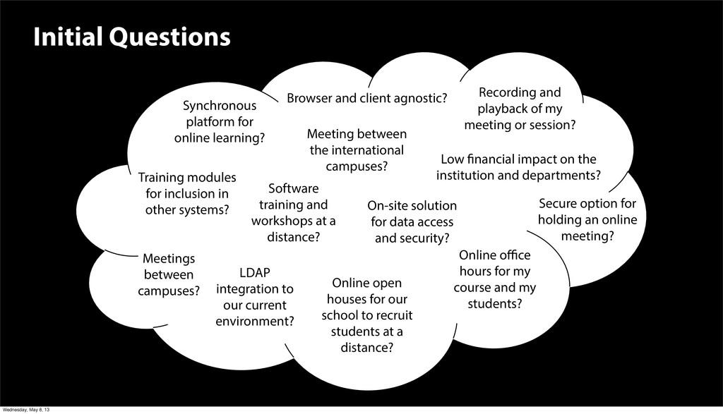 Initial Questions 4 Meetings between campuses? ...
