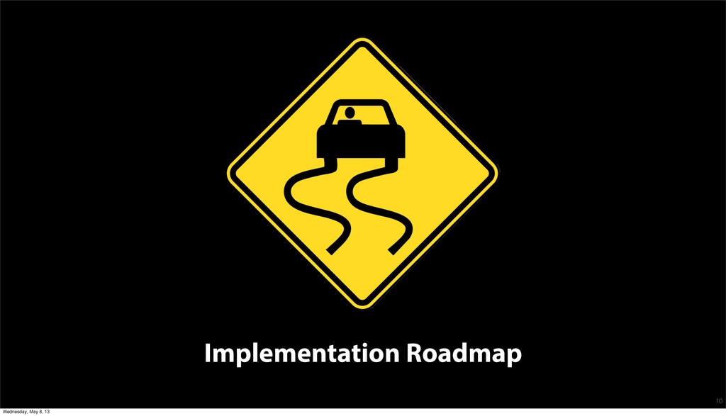 Implementation Roadmap 10 Wednesday, May 8, 13