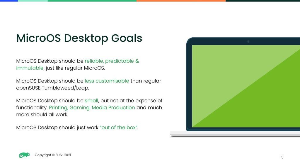 Copyright © SUSE 2021 15 MicroOS Desktop Goals ...