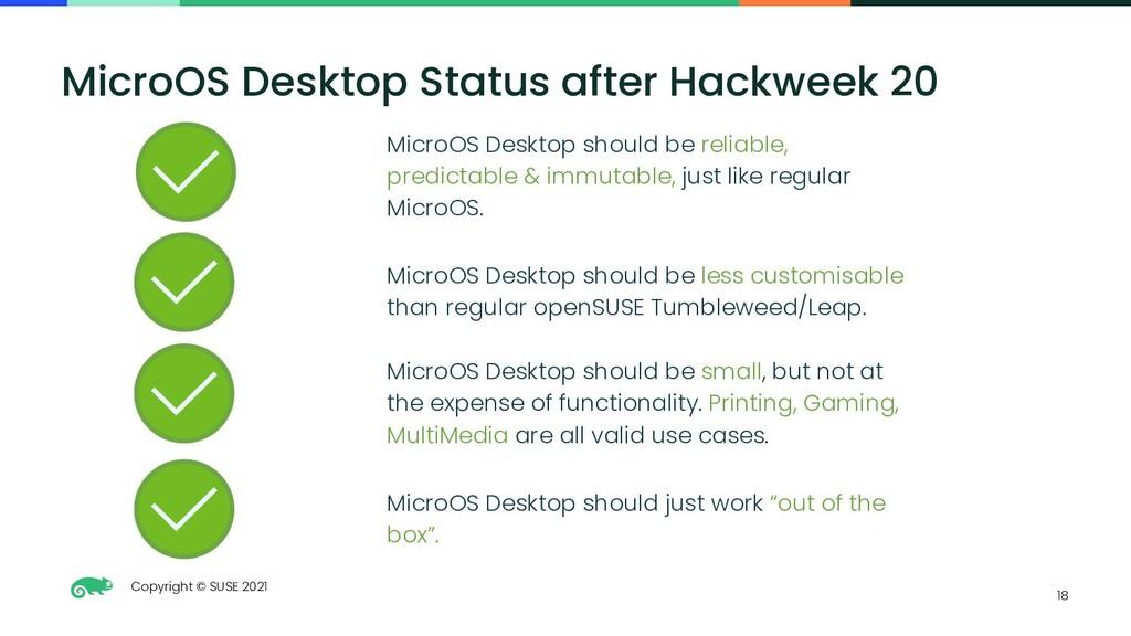 Copyright © SUSE 2021 18 MicroOS Desktop Status...