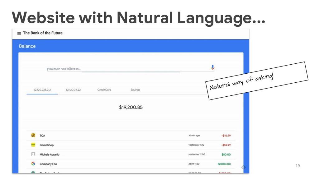 19 Website with Natural Language... Natural way...
