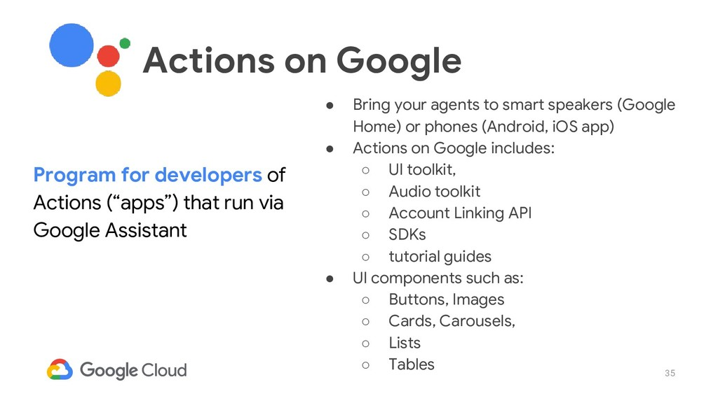 35 ● Bring your agents to smart speakers (Googl...