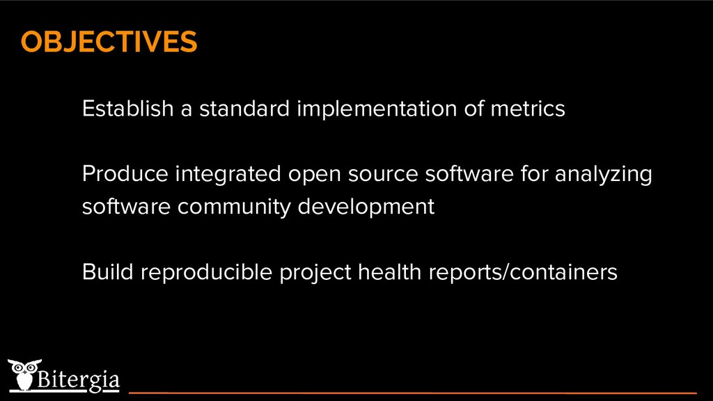 ● Establish a standard implementation of metric...