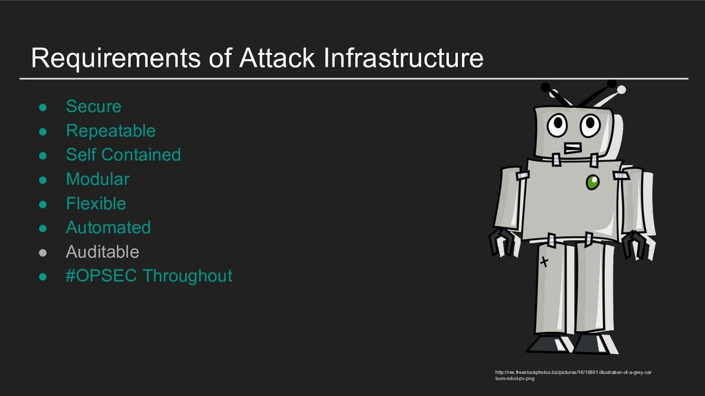 Requirements of Attack Infrastructure ● Secure ...