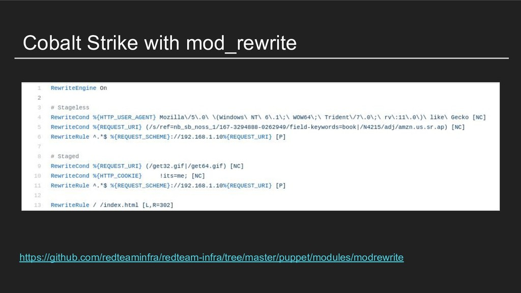 Cobalt Strike with mod_rewrite https://github.c...