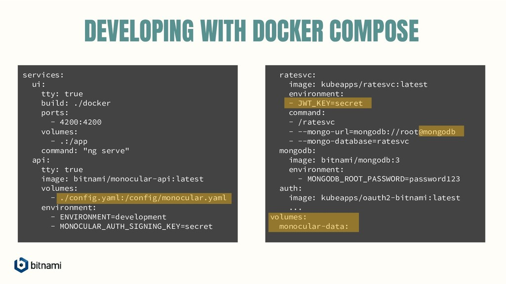 DEVELOPING WITH DOCKER COMPOSE services: ui: tt...