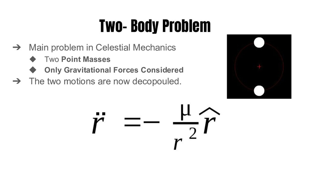 Two- Body Problem ➔ Main problem in Celestial M...
