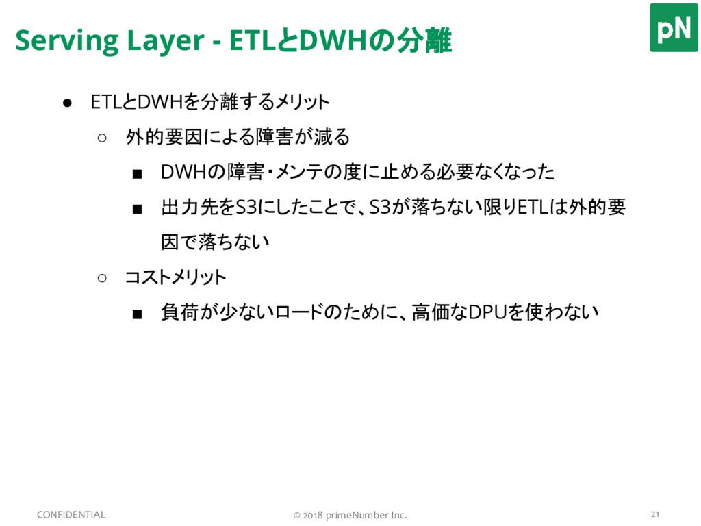 Serving Layer - ETLとDWHの分離 21 CONFIDENTIAL © 20...