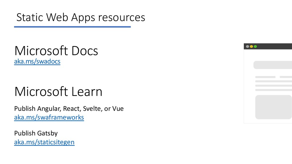 Static Web Apps resources Microsoft Docs aka.ms...