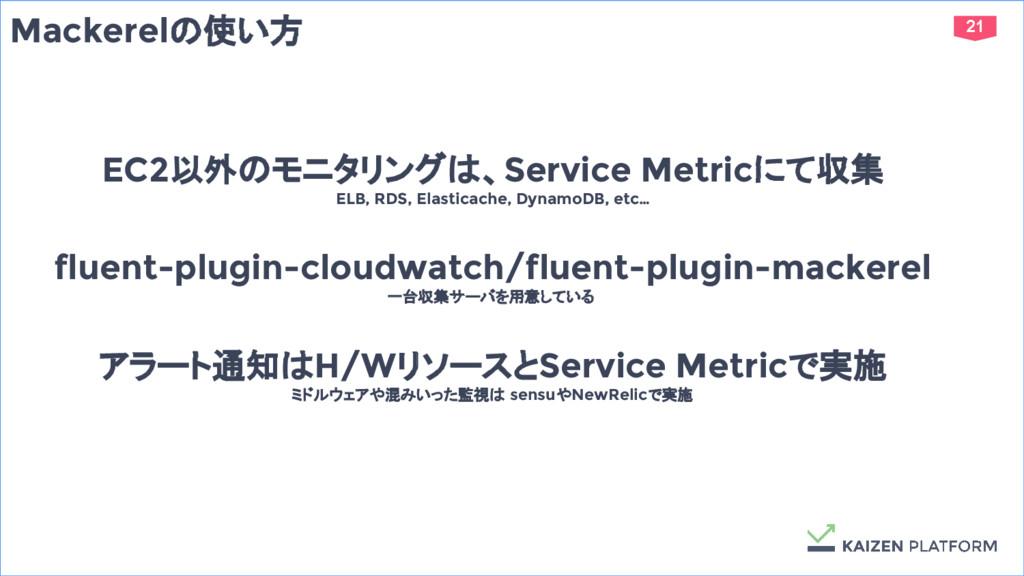 21 Mackerelの使い方 EC2以外のモニタリングは、Service Metricにて収...