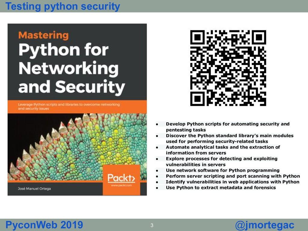 Testing python security PyconWeb 2019 3 @jmorte...
