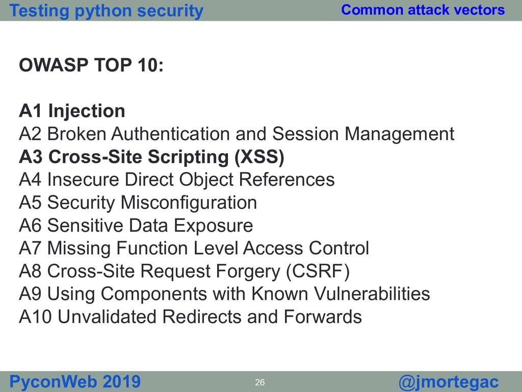 Testing python security PyconWeb 2019 26 @jmort...