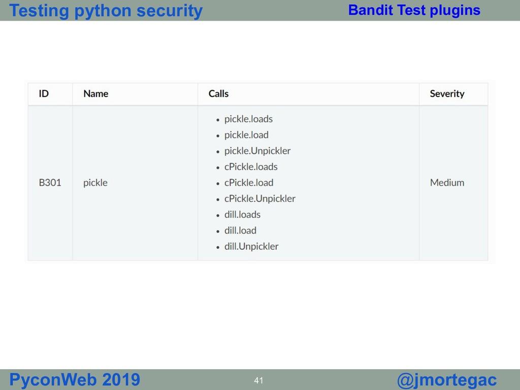 Testing python security PyconWeb 2019 41 @jmort...