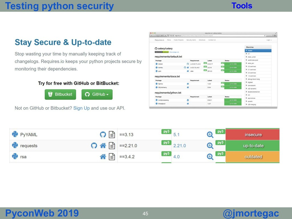 Testing python security PyconWeb 2019 45 @jmort...