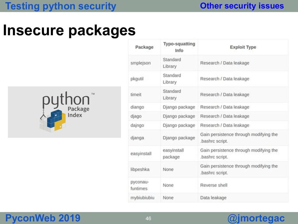 Testing python security PyconWeb 2019 46 @jmort...