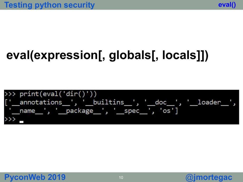 Testing python security PyconWeb 2019 10 @jmort...