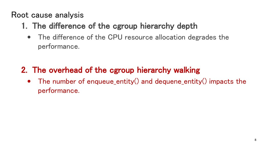Root cause analysis 1. The difference of the cg...