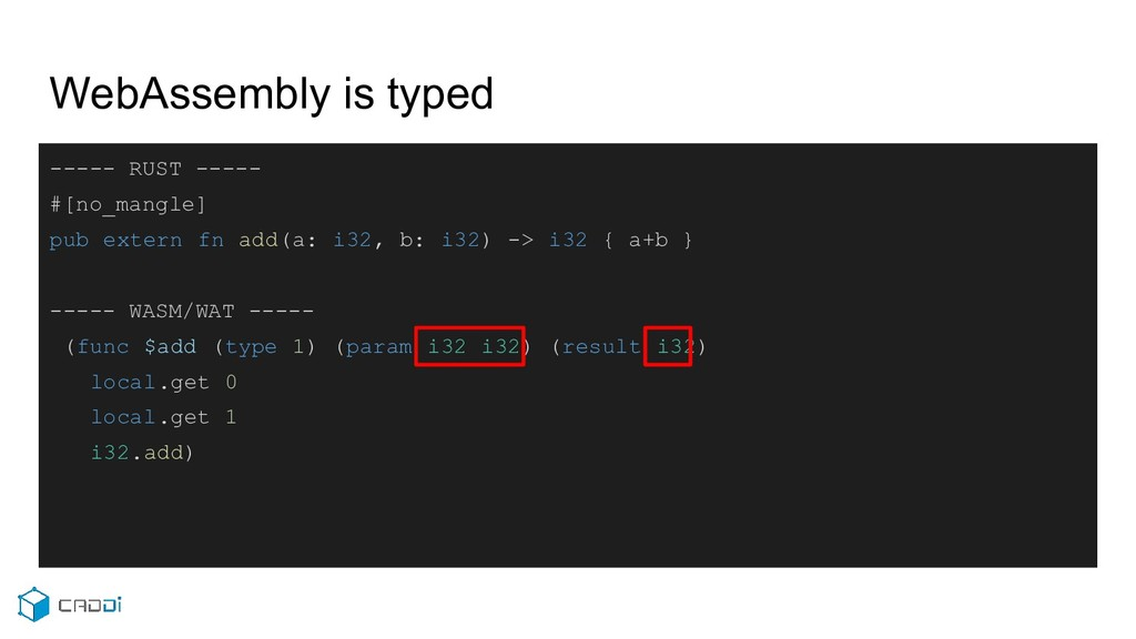WebAssembly is typed ----- RUST ----- #[no_mang...