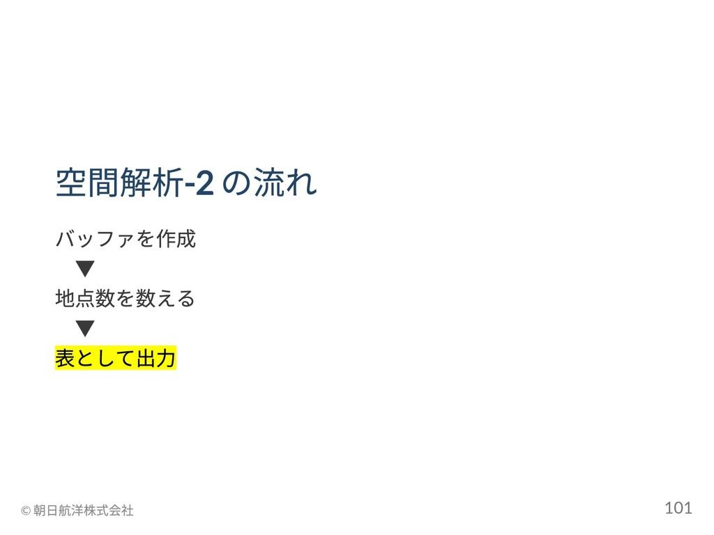 空間解析-2 の流れ バッファを作成  ▼ 地点数を数える  ▼ 表として出力 © 朝日航洋株...