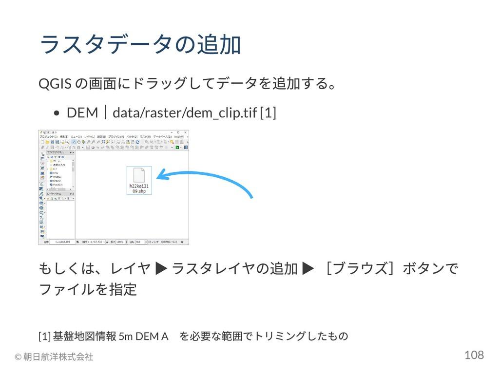 ラスタデータの追加 QGIS の画面にドラッグしてデータを追加する。 DEM |data/ra...