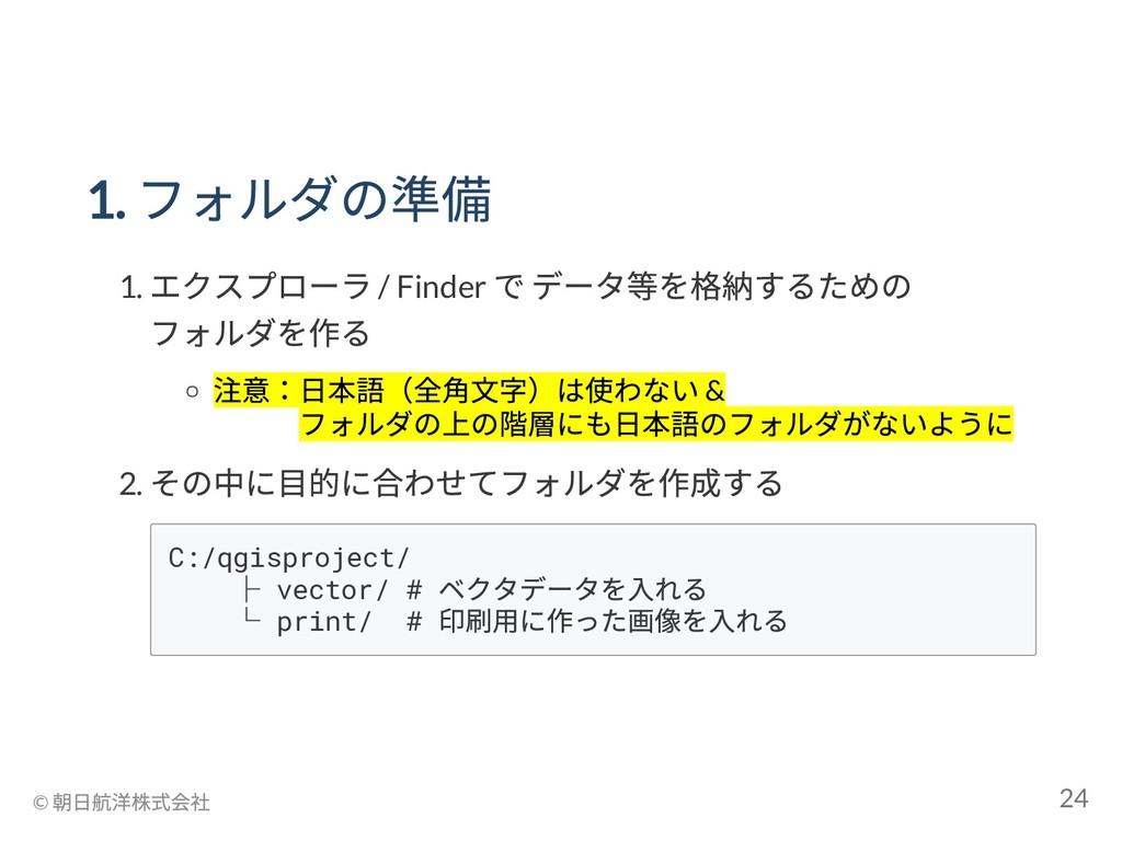 1. フォルダの準備 1. エクスプローラ / Finder で データ等を格納するための フ...