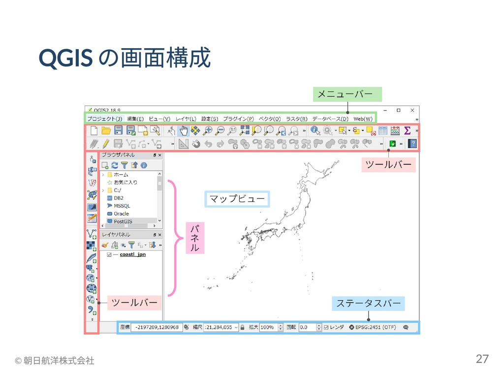 QGIS の画面構成 © 朝日航洋株式会社 27