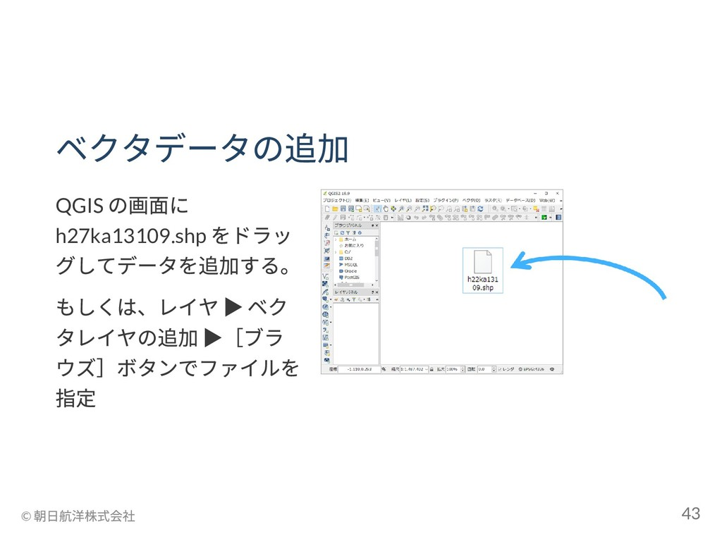 ベクタデータの追加 QGIS の画面に h27ka13109.shp をドラッ グしてデータを...