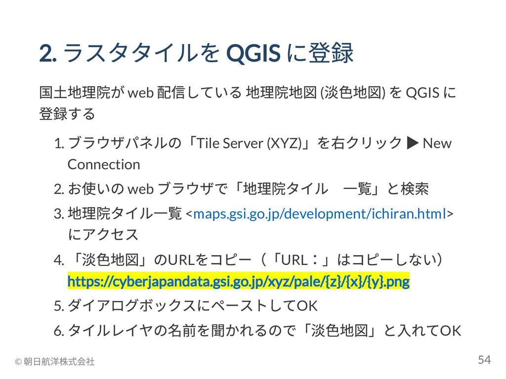 2. ラスタタイルを QGIS に登録 国土地理院が web 配信している 地理院地図 ( 淡...
