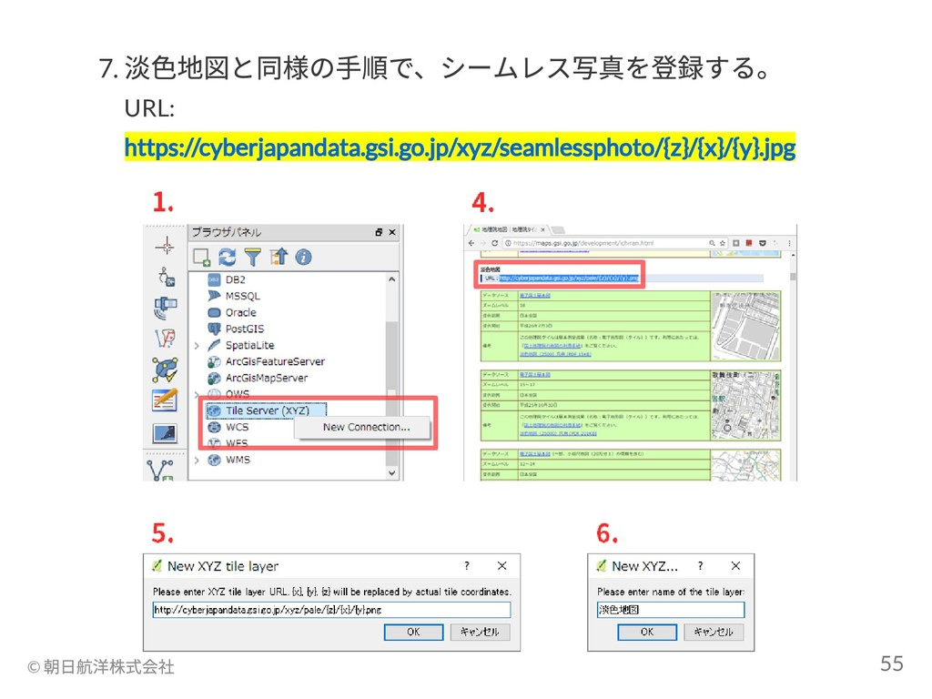 7. 淡色地図と同様の手順で、シームレス写真を登録する。 URL: https://cyber...