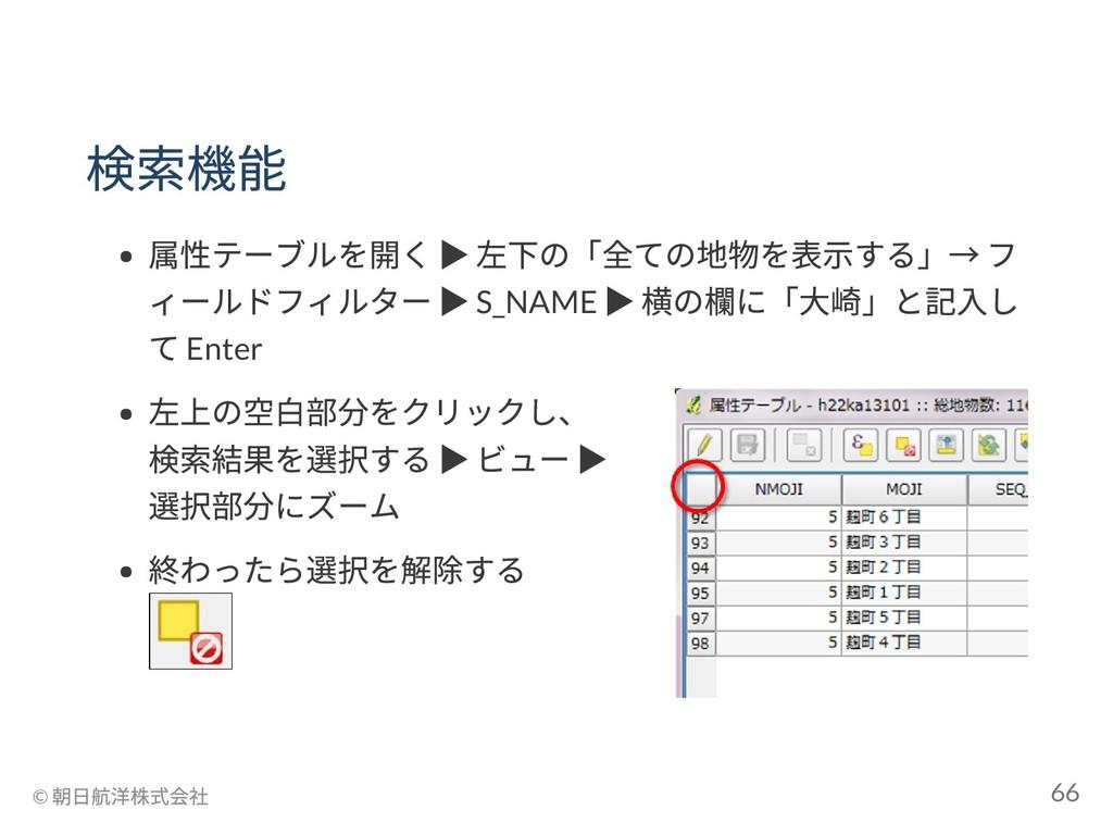 検索機能 属性テーブルを開く ▶ 左下の「全ての地物を表示する」→ フ ィールドフィルター ▶...