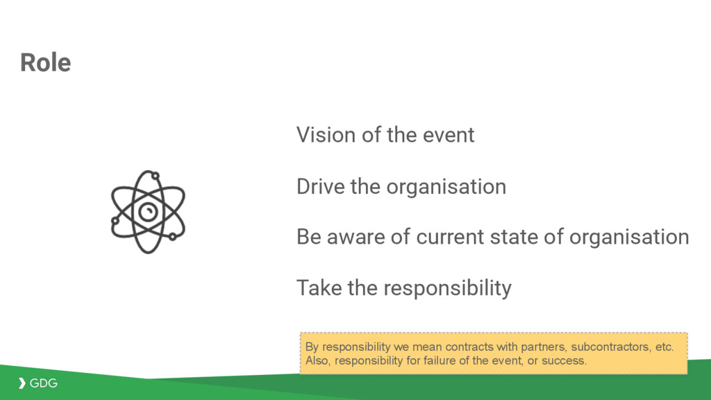 Vision of the event Drive the organisation Be a...