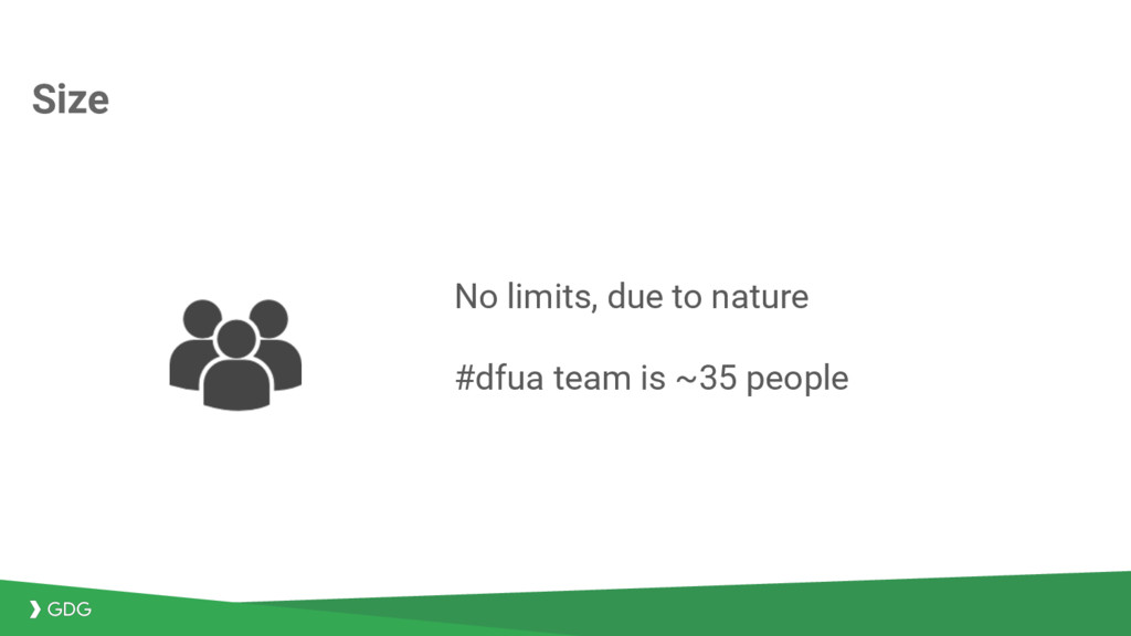 Size No limits, due to nature #dfua team is ~35...