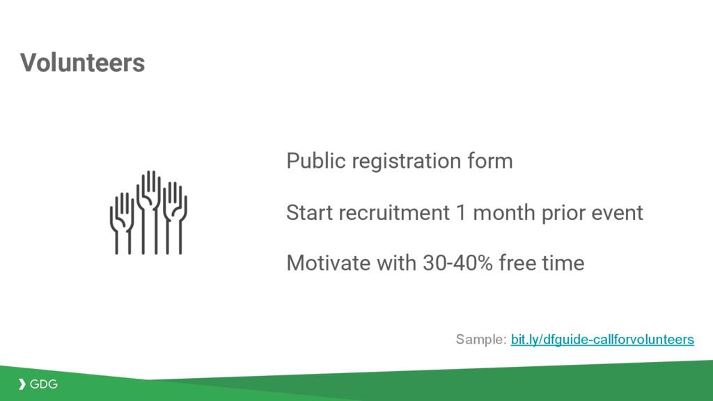 Volunteers Public registration form Start recru...