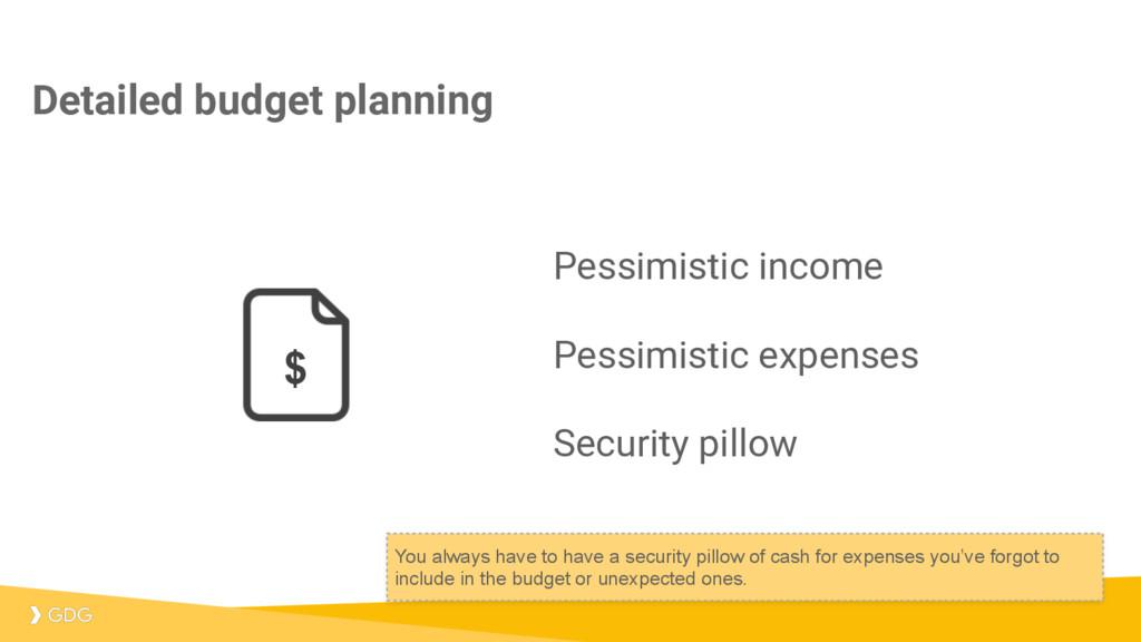 Pessimistic income Pessimistic expenses Securit...